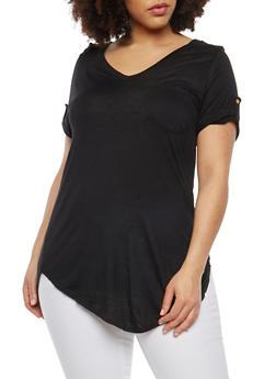 Plus Size Tab Sleeve T Shirt - BLACK - 1915074285041