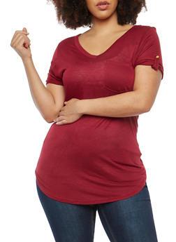 Plus Size Tab Sleeve T Shirt - 1915074285041