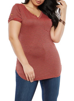 Plus Size Striped V Neck T Shirt - 1915074285055