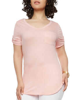 Plus Size Ribbed Knit Basic Top - 1915074285061