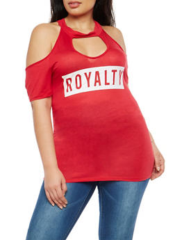 Plus Size Graphic Cold Shoulder Top - RED - 1915074286897