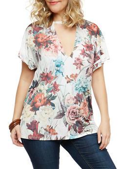 Plus Size Floral Print Choker Neck Top - 1915074287602
