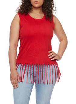 Plus Size Sleeveless Fringe Tank Top - 1916033872517