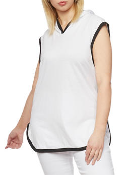 Plus Size Hooded Contrast Trim Tunic Top - WHITE - 1916033879335