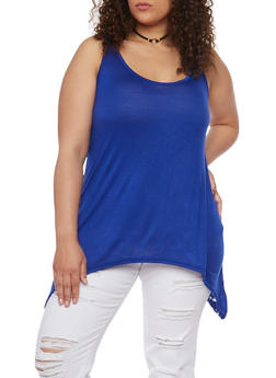 Plus Size Sharkbite Tank Top with Floral Lace Back - 1916038347011