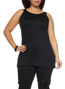 Plus Size Scoop Neck Tank Top - 1916038347022