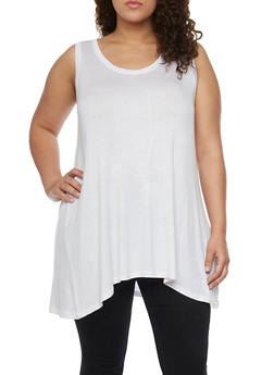 Plus Size Swing Tank Top with Cross Caged V Back - WHITE - 1916038347704