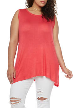 Plus Size Swing Tank Top with Cross Caged V Back - 1916038347704