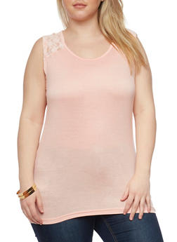 Plus Size Tank Top with Lace Back Yolk - 1916038347705