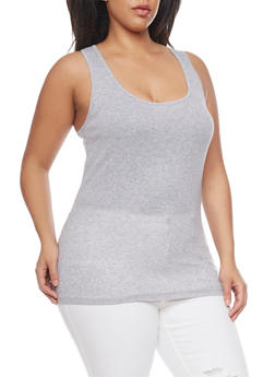 Plus Size Basic Rib Knit Tank Top - 1916054260066