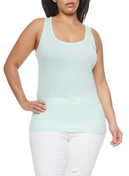 Plus Size Basic Rib Knit Tank Top - 1916054260066