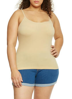 Plus Size Basic Stretch Seamless Camisole Tank Top - SESAME - 1916054260222