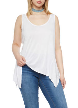 Plus Size Sleeveless Sharkbite Tank Top - 1916054260336