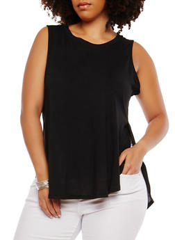 Plus Size Basic Sleeveless Round Hem Tunic Top - 1916054260492