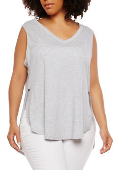 Plus Size High Low Tank Top - 1916054260493