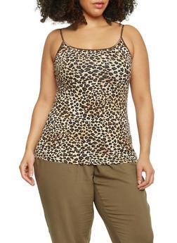 Plus Size Leopard Print Spaghetti Strap Tank Top - 1916054262510