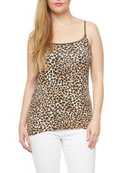 Plus Size Cami With Leopard Print,BROWN,medium