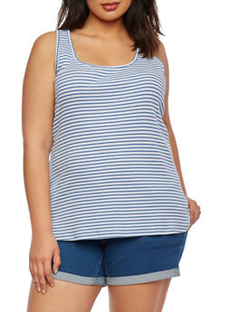 Plus Size Striped Tank Top - 1916054268328