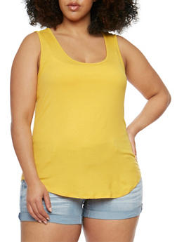 Plus Size Sleeveless Rib Knit Tank Top - 1916054268807