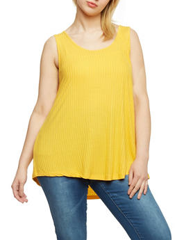 Plus Size Solid Rib Knit High Low Tank Top - MUSTARD  NEW - 1916054268808