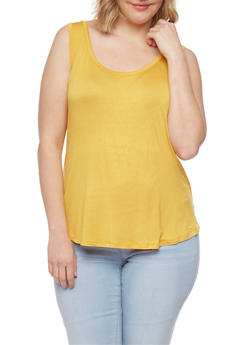 Plus Size Solid Scoop Neck Tank Top - NEW MUSTARD - 1916054269539