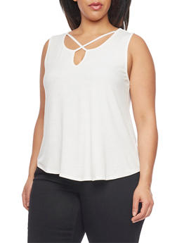 Plus Size Caged Neck Rib Knit Tank Top - WHITE - 1916054269543