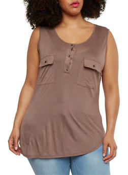 Plus Size Henley Tank Top with Pockets - 1916058930914