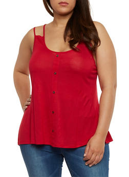 Plus Size Faux Button Front Tank Top - 1916058930916