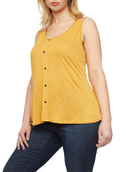 Plus Size Faux Button Front Tank Top - MUSTARD - 1916058930916