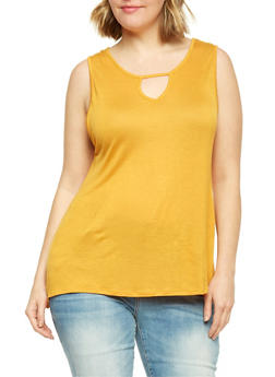 Plus Size Keyhole Swing Tank Top - 1916058930918