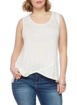 Plus Size Tulip Hem Tank Top - WHITE - 1916058930938