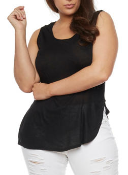 Plus Size Tunic Tank Top with Open Sides - 1916058930939