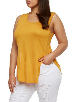 Plus Size Tunic Tank Top with Open Sides - MUSTARD - 1916058930939