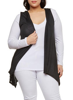 Plus Size Hooded Drape Front Cardigan - 1916074281107