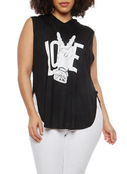 Plus Size Love Graphic Hooded Top - BLACK - 1916074284111