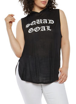 Plus Size Squad Goal Hooded Top - 1916074284112