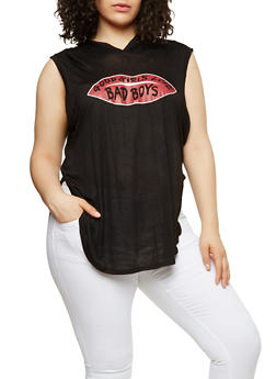 Plus Size Lip Graphic Hooded Top - 1916074284113
