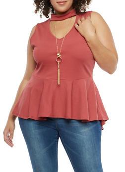 Plus Size Choker Neck Peplum Top with Necklace - MAUVE - 1916074287720