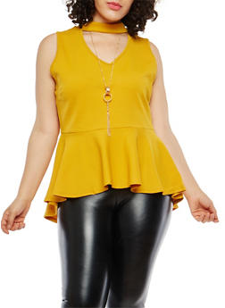 Plus Size Choker Neck Peplum Top with Necklace - MUSTARD - 1916074287720