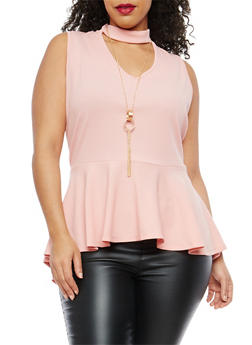Plus Size Choker Neck Peplum Top with Necklace - BLUSH - 1916074287720