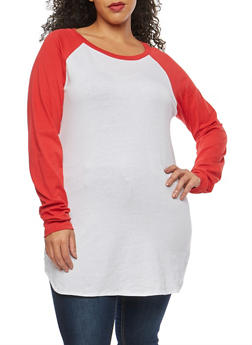Plus Size Color Block Crew Neck Top - 1917033870264