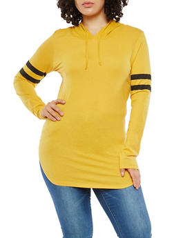 Plus Size Hooded Long Sleeve Top - 1917033870343