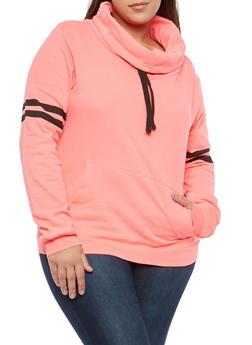 Plus Size Marled Cowl Neck Sweatshirt - 1917033871226