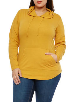 Plus Size Olive Hooded Top - 1917033874775