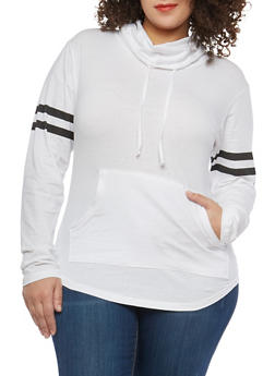 Plus Size Varsity Stripe Cowl Neck Top - 1917033874846
