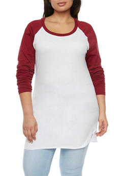 Plus Size Baseball Top with Contrast Sleeves - WHITE-WINE - 1917033875264