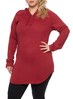 Plus Size Solid Hooded Tunic - WINE - 1917033875343