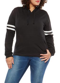 Plus Size Varsity Stripe Hooded Sweatshirt - 1917033876757