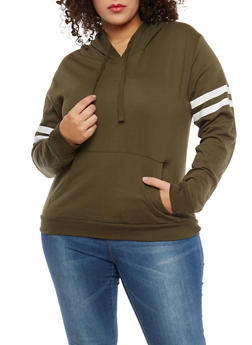 Plus Size Varsity Stripe Hooded Sweatshirt - 1917033876757