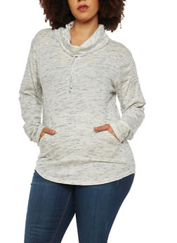 Plus Size Cowl Neck Top - 1917033878448
